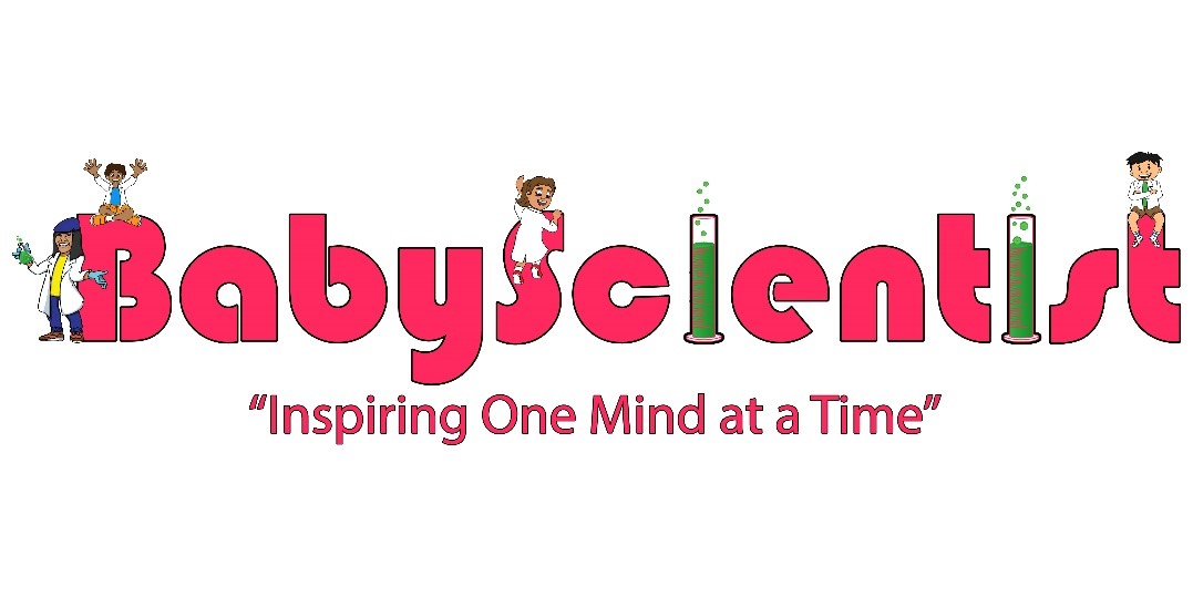 Logo for Baby Scientist written in bright pink letters with drawing of kid scientists on letters.