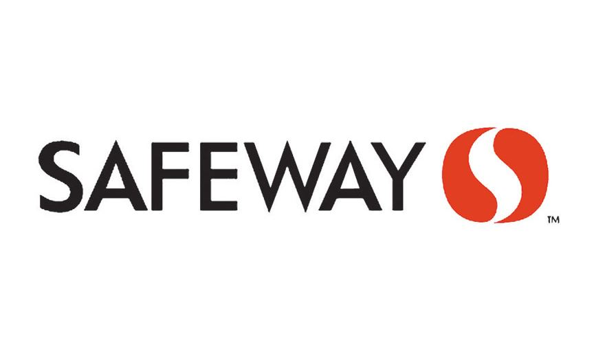 Safeway Grocery Store logo written in black with red graphic